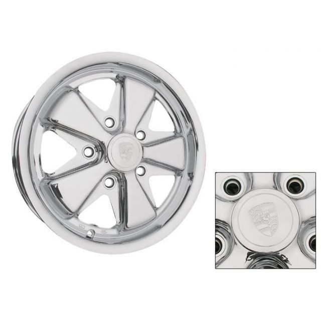 , Classic Porsche Alloy Chrome Plated Wheel 15 x 5.5 Wide 5 Lug 130mm Patern | 601312