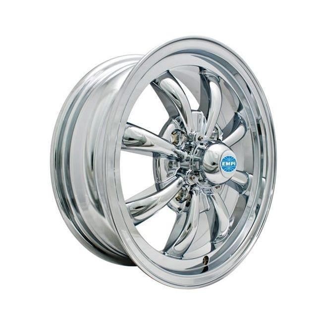 , Empi GT-8 Spoke Wheel Chrome Plated Fits 4 Lug VW Beetle 1968-1979 130mm Bolt Patter | 601151